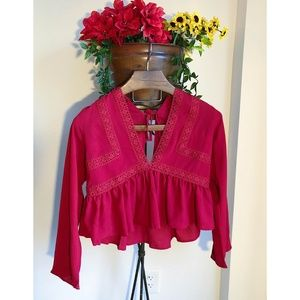 RED LACE FLOWY BLOUSE BOHO STYLE NWOT